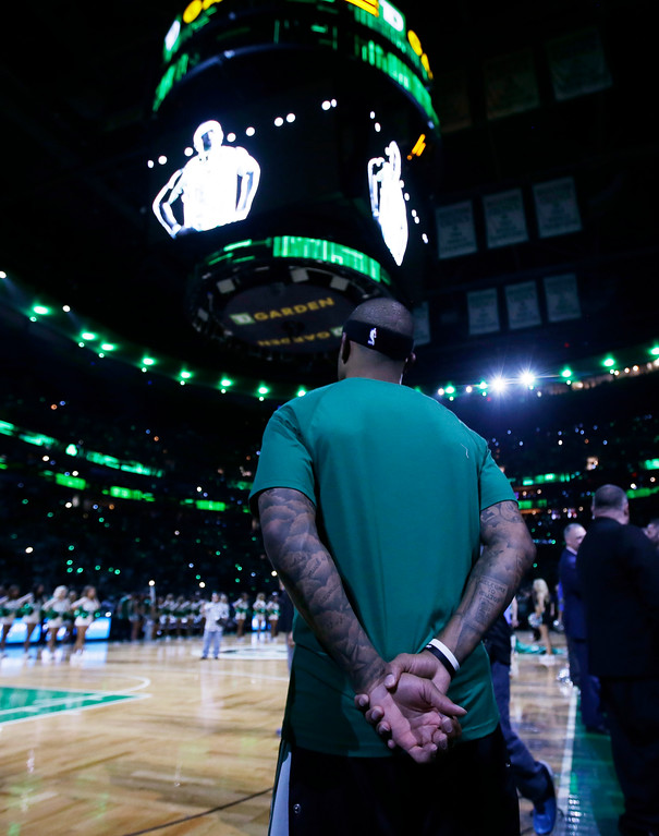 . Boston Celtics guard Isaiah Thomas (4) waits to be introduced at Game 1 of the NBA basketball Eastern Conference finals, in Boston, Wednesday, May 17, 2017. (AP Photo/Stephan Savoia)