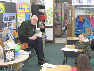 State Rep. John Moran reads to students at Stamford School