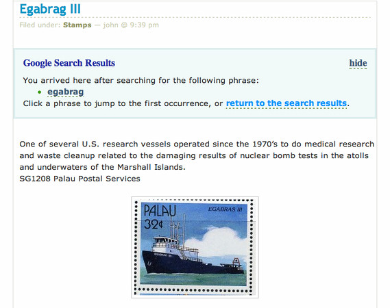 Pacific nation of Palau issued stamp commemorating our research vessel the Egabrag III based on my photograph.