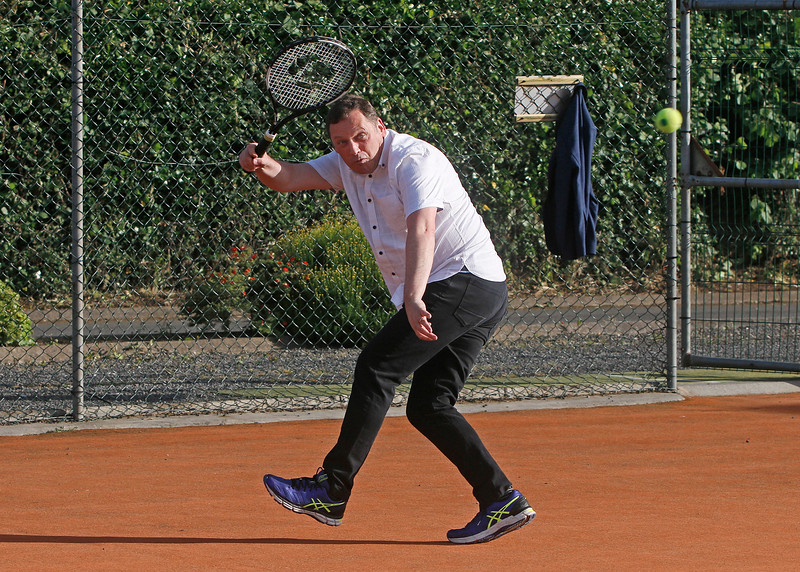 Barry Cowen TD playing tennis at Tullamore Tennis Club's open night on Monday - 17th June 2019     Picture. Niall O'Mara