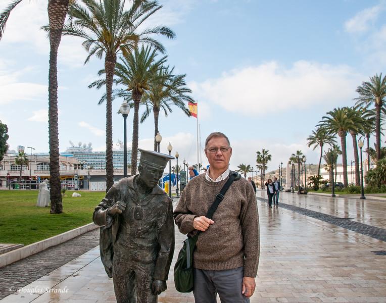 Cartagena, Spain - Doug playing statue