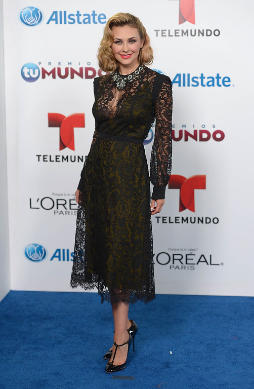 . MIAMI, FL - AUGUST 15:  Aracely Arambula arrives for Telemundo\'s Premios Tu Mundo Awards at American Airlines Arena on August 15, 2013 in Miami, Florida.  (Photo by Gustavo Caballero/Getty Images)