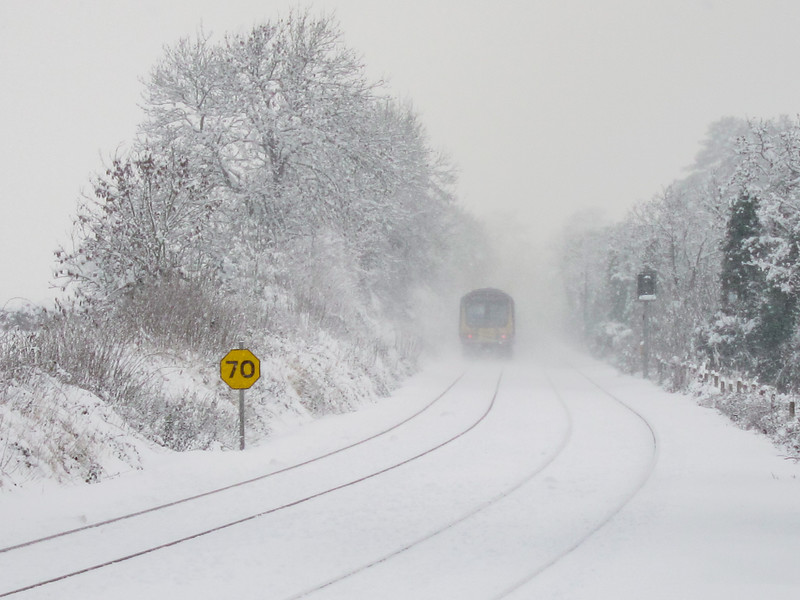 Train in snow between Leixlip and Maynooth