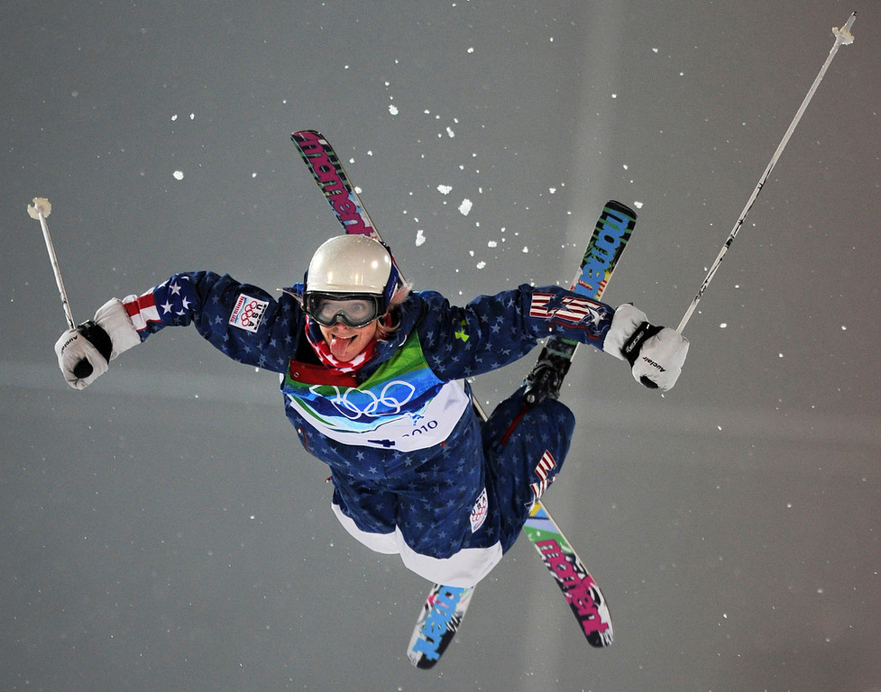 . Shannon Bahrke of the US sticks her tongue out while jumping the second ramp during the Women\'s Moguls Freestyle Skiing Final at Cypress Mountain during the Vancouver Winter Olympics, north of Vancouver on February 13, 2010. (ADRIAN DENNIS/AFP/Getty Images)