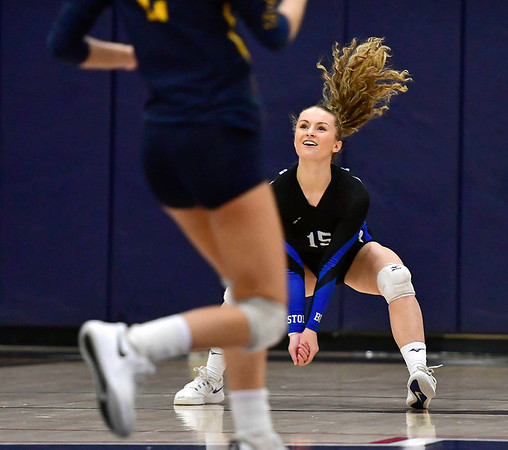 11/1/2018 Mike Orazzi | Staff Bristol Eastern's Rebecca Bender (15) during the CCC Volleyball Tournament at Avon High School Thursday night.