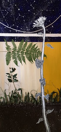 """""""Nostalgia"""" (mixed media- acrylic paint, dried plants, soil, paper, ink, and glue) by Jenny Barnes"""