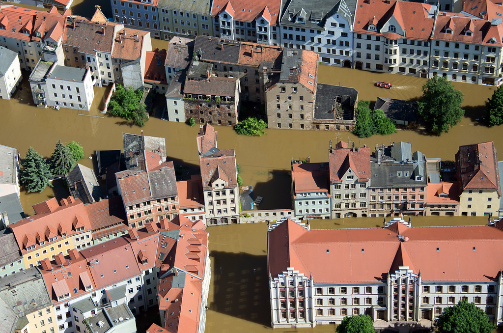 . Aerial view shows the flooded city of Meissen, eastern Germany, on June 5, 2013. German, Czech and Austrian river cities braced for rising flood waters, evacuating thousands and boosting defenses along the swollen Elbe and Danube, after inundations from heavy rains left 11 people dead.  AFP PHOTO / JOHANNES  EISELE/AFP/Getty Images
