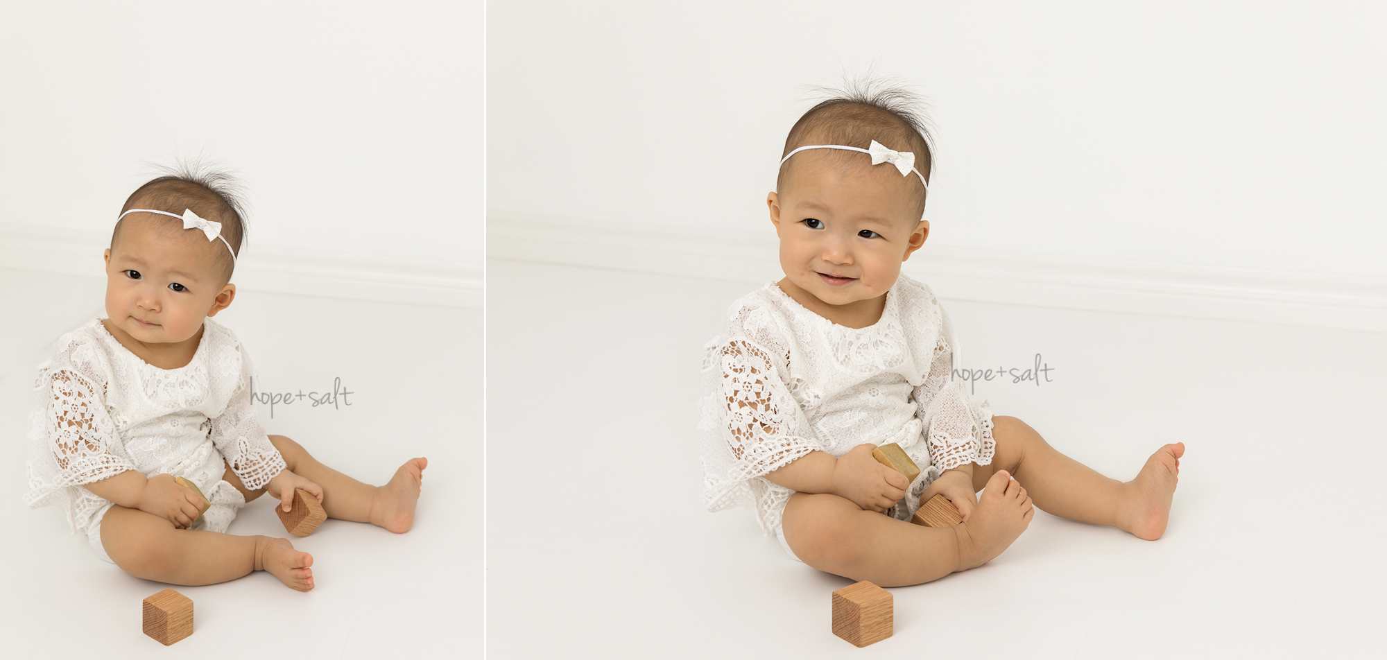 oakville baby photographer - simple and neutral first birthday session for one year old girl Chloe and family in studio