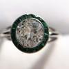 1.30ctw Old European Cut Diamond Emerald Target Ring 32