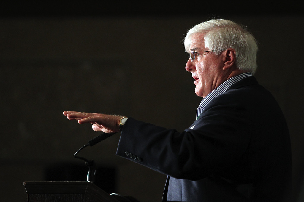 . Ron Conway special advisor to SV Angel speaks at a news conference to launch the Sandy Hook Promise Innovation Initiative held in honor of the three month anniversary of the tragic shooting at Sandy Hook Elementary School at the Bill Graham Civic Auditorium in San Francisco, Calif., on Thursday, March 14, 2013. (Anda Chu/Staff)