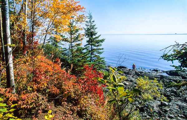 Lake Superior -- Touring Cyclist near French River