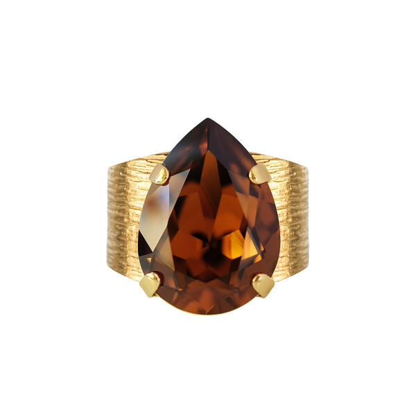 CLASSIC DROP RING / SMOKED TOPAZ