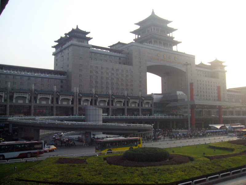Beijing West Train Station... the air is always bad! Qinghai -Beijing to Tibet Railway, Beijing to Lhasa  Oct  2006