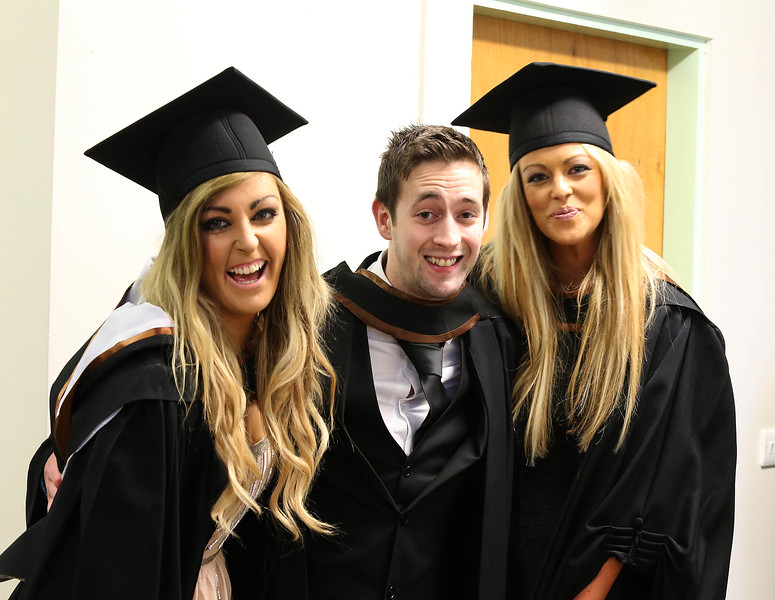 Pictured are Ciara O'Driscoll, Cork, Gerard O'Sullivan, Limerick and Cliodhna Power, Waterford graduated Bachelor of Arts (Honours). Picture: Patrick Browne.