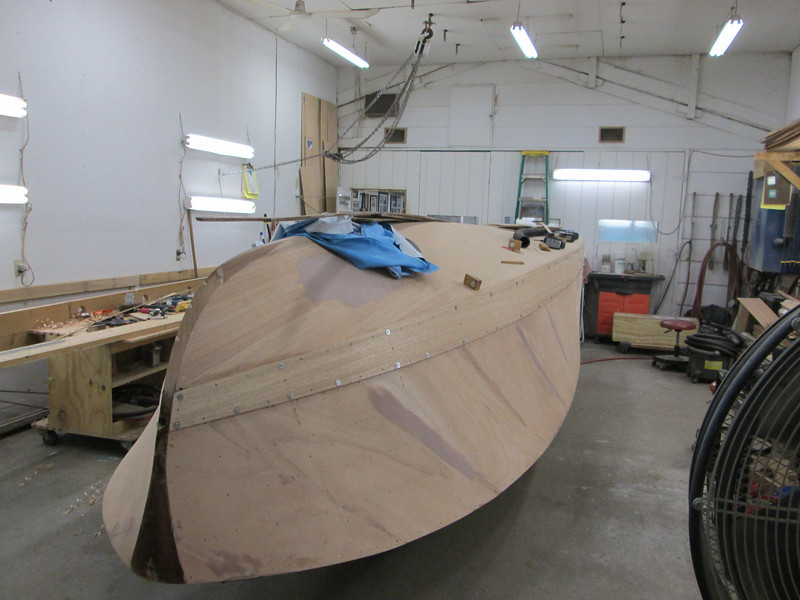 Starboard front view of first side plank fit.