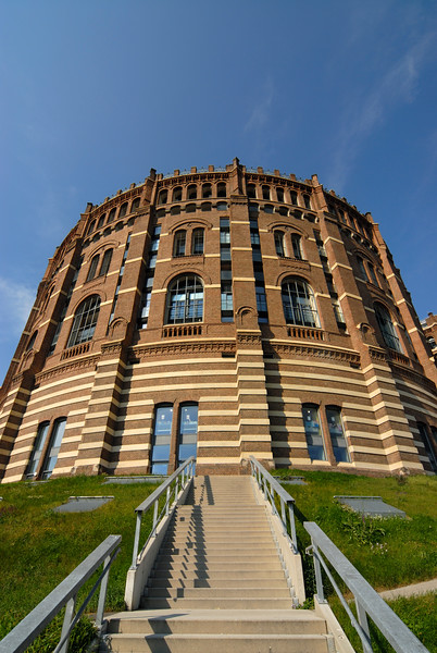 Frontal Facade of Renovated Historic Gasometer A in Simmering, Vienna (Austria)