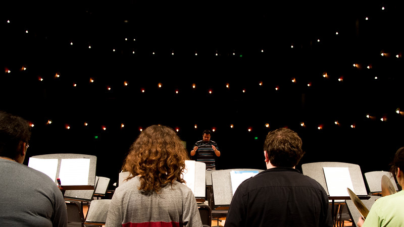 Richard D. Rodriguez conducts students who attended the precussion band camp class.