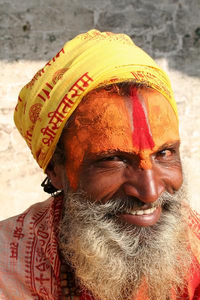Smiling Hindu Sadhu (Holy Man) at the Pashupatinath Temple in Kathmandu, Nepal