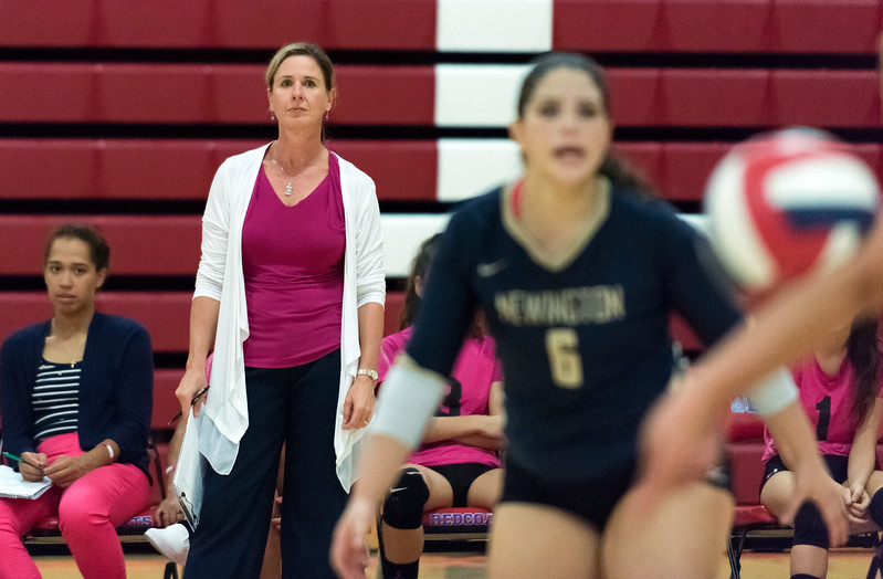 10/11/18  Wesley Bunnell | Staff  Newington volleyball defeated Berlin at Berlin High School 3-0 on Thursday night. Newington's head coach Chris Wanner watches the play.