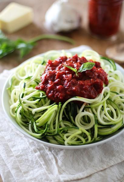 Zucchini Pasta with Beet Marinara