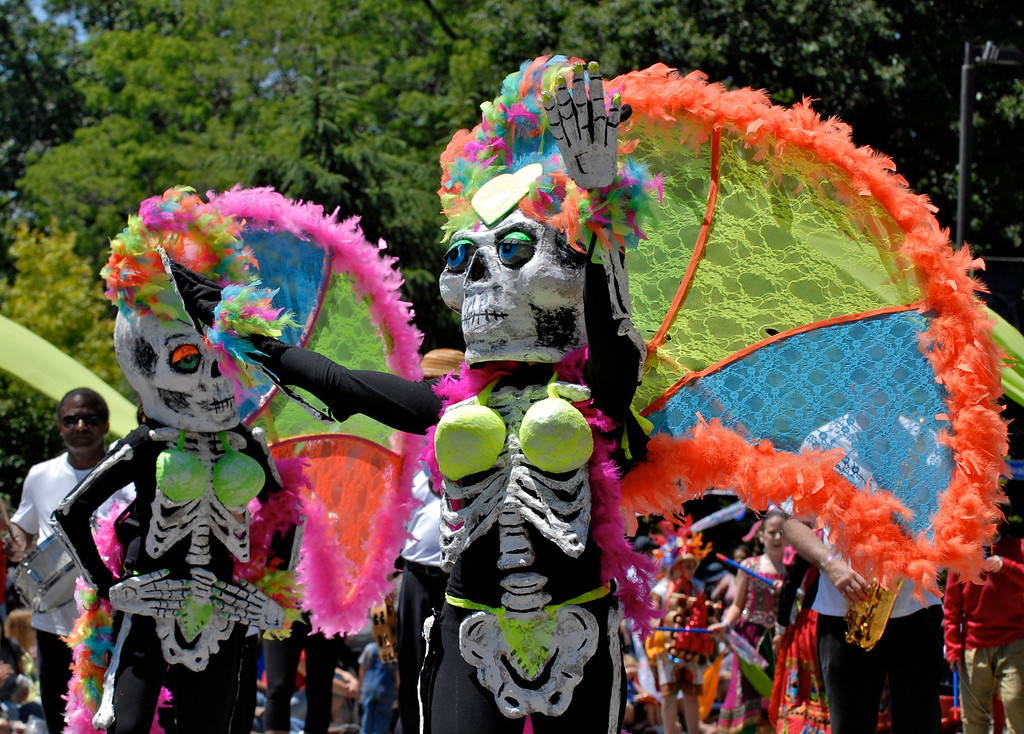 . Jeff Forman/JForman@News-Herald.com Spectacular skeleton Showgirls at the Cleveland Museum of Art 25th annual Parade the Circle June 14 in University Circle.
