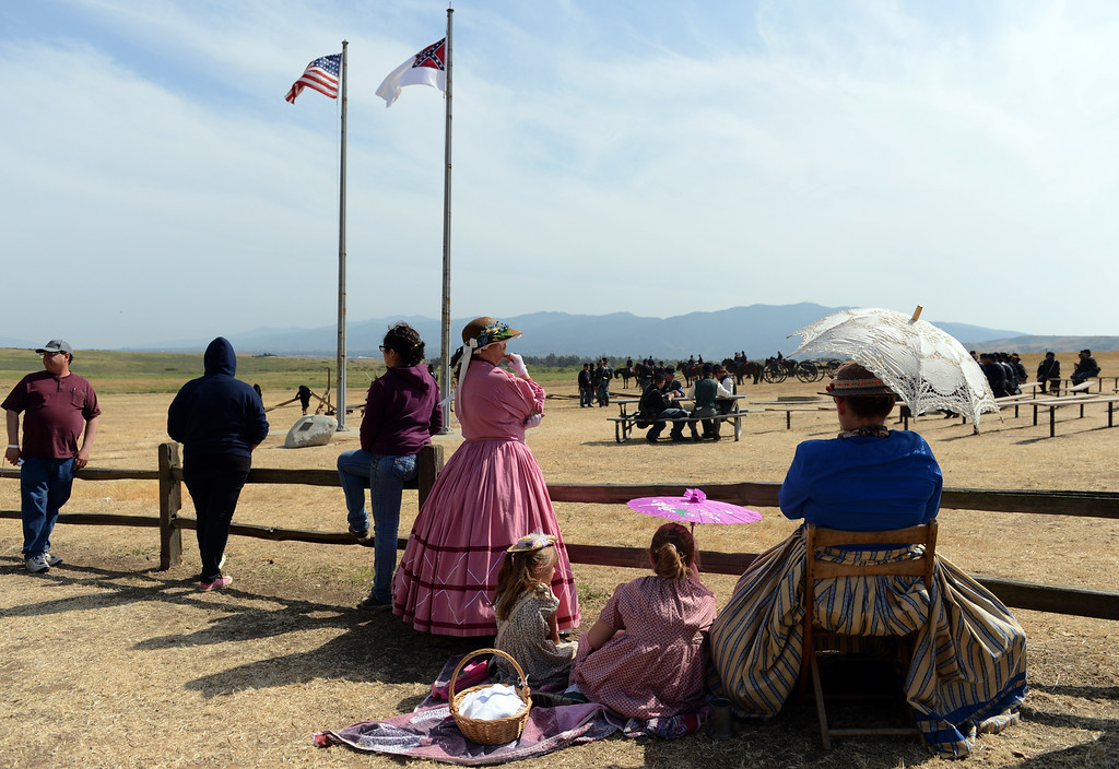 . Participants take part in the Southern California Civil War Association\'s Civil War reenactment Sunday, April 7, 2013, at Prado Regional Park in Chino. Jennifer Cappuccio Maher/Staff Photographer