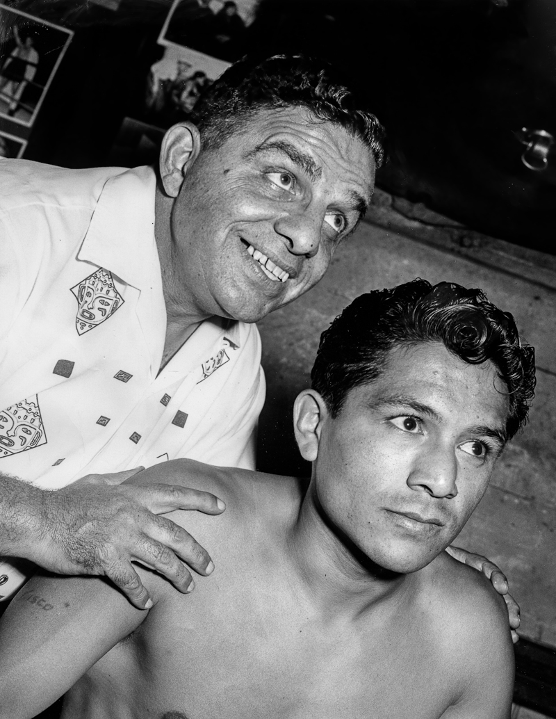 . Oakland, CA August 12, 1958 - Cisco Andrade and his manager Ralph Gambina. (Jim Edelen / Oakland Tribune)