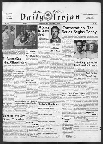 Daily Trojan, Vol. 42, No. 32, October 31, 1950