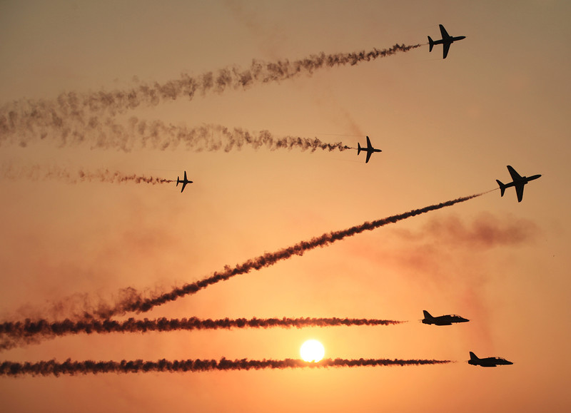 . The Saudi Hawks Display Team performs Thursday, Jan. 16, 2014, at the Bahrain International Airshow in Sakhir, Bahrain. Bahrain\'s state news agency says the International Airshow opened to announcements of more than $3 billion in agreements. (AP Photo/Hasan Jamali)