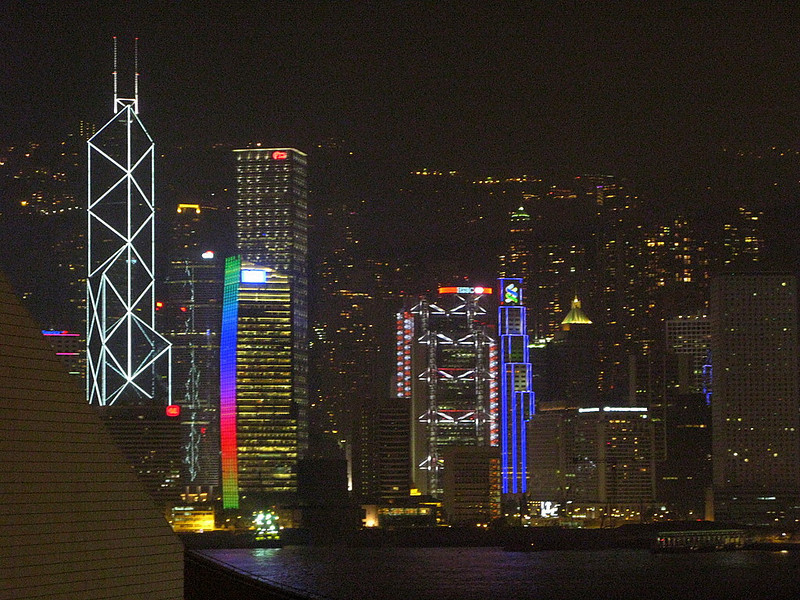 Spectacular night view of Hong Kong from hotel room (Salisbury YMCA, Kowloon)