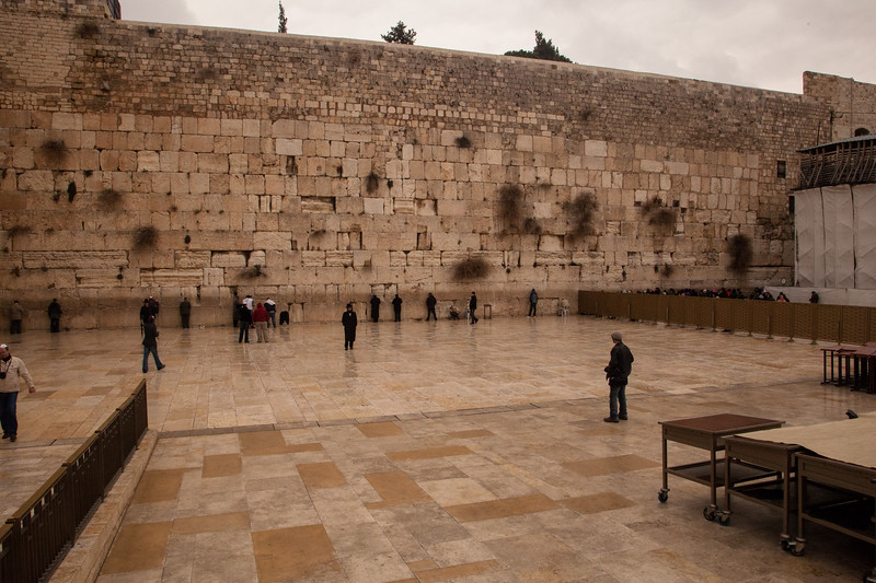 Approaching the Western  Wall, Judaism's holiest site.  Probably not a wall of the temple, the wall buttresses the hill itself.