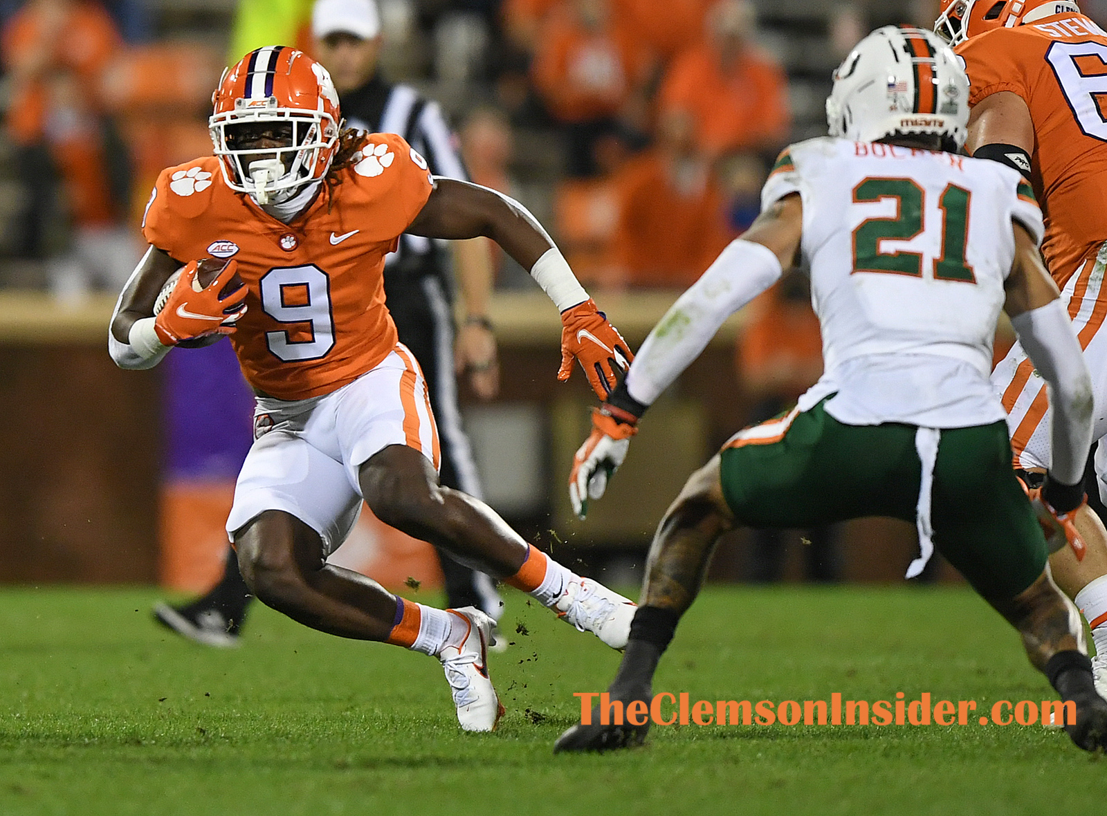 Clemson running back Travis Etienne (9) carries against Miami during the 1st quarter during Clemson's game against the University of Miami at Clemson's Memorial Stadium Saturday, October 10, 2020. Bart Boatwright/The Clemson Insider