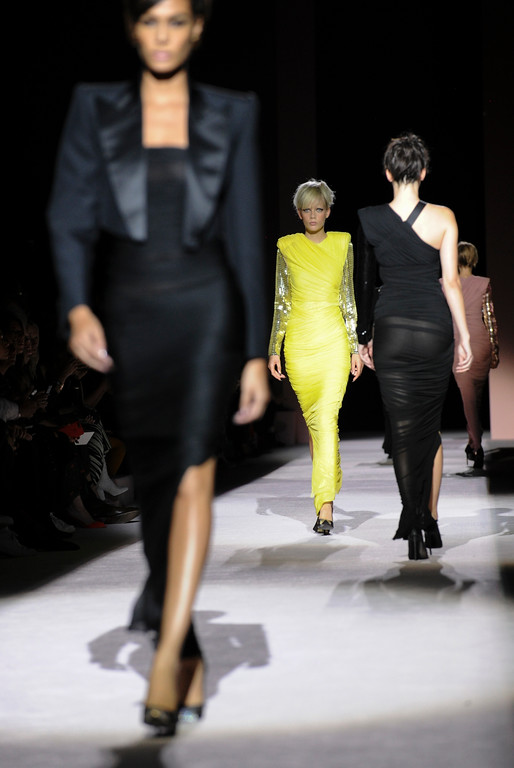 . The Tom Ford Spring 2018 collection is modeled during New York Fashion Week, Wednesday, Sept. 6, 2017. (AP Photo/Diane Bondareff)