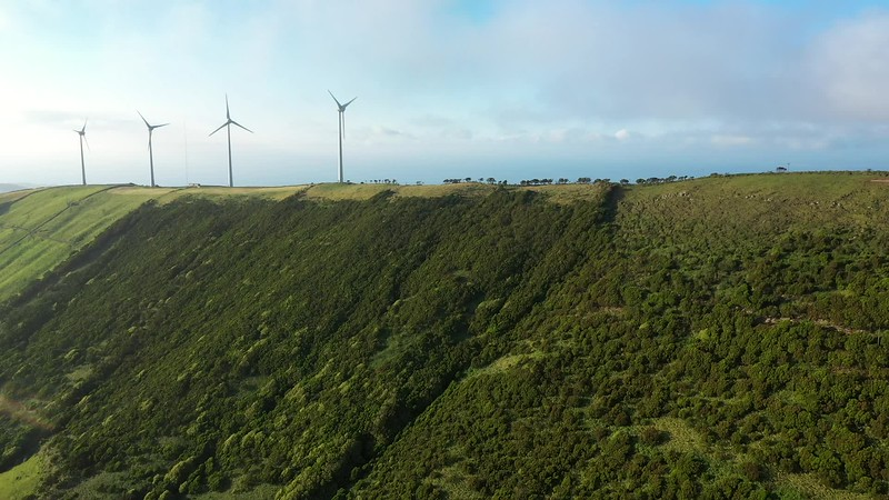 Available in 4K - Aerial video clip on the windmills at the top of Serra da Ribeirinha, Terceira Island, The Azores