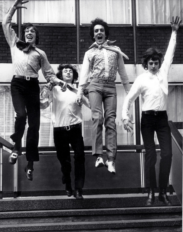 . On the threshold of stardom, members of the psychedelic rock band Pink Floyd leap from the steps of EMI House in London March 3, 1967. From left: Roger Waters, Nick Mason, Syd Barrett and Richard Wright. Wish You Were Here Pink Floyd Tribute performs Jan. 6 at House of Blues Cleveland. For more information, visit www.houseofblues.com/cleveland. (Associated Press file)