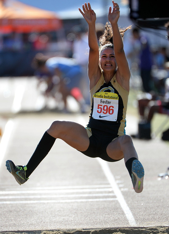 . Christopher\'s Ally Foster in the triple jump during the Arcadia Invitational track and field meet at Arcadia High School in Arcadia, Calif., on Friday, April 11, 2014.  (Keith Birmingham Pasadena Star-News)