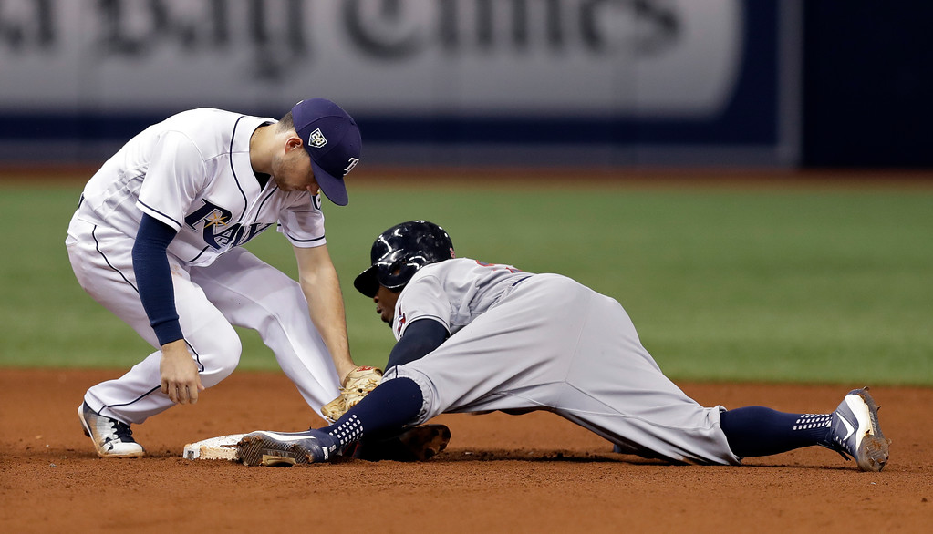 . Cleveland Indians\' Rajai Davis, right, steals second base as Tampa Bay Rays shortstop Brandon Lowe is late with the tag during the seventh inning of a baseball game Monday, Sept. 10, 2018, in St. Petersburg, Fla. (AP Photo/Chris O\'Meara)