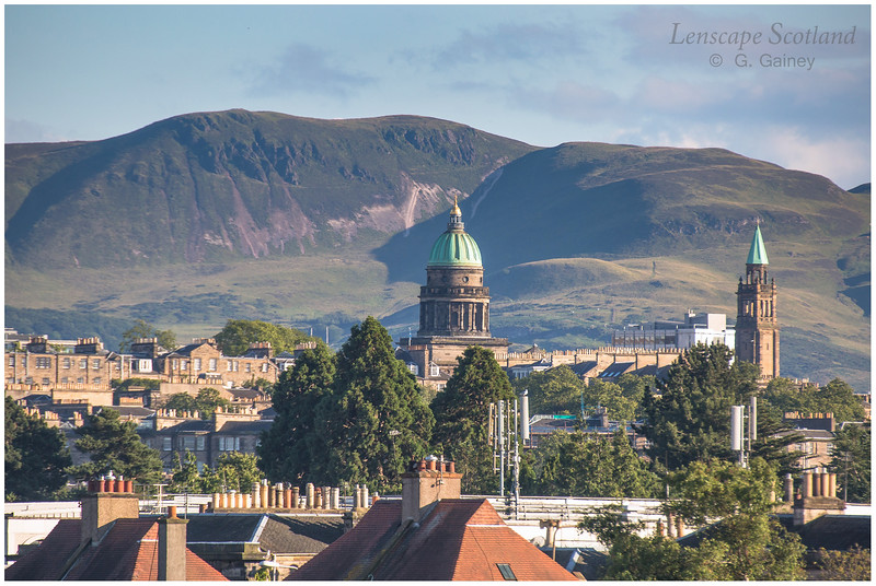 West Register House dome and Charlotte Chapel spire in a view from Goldenacre to the Pentland Hills (1)