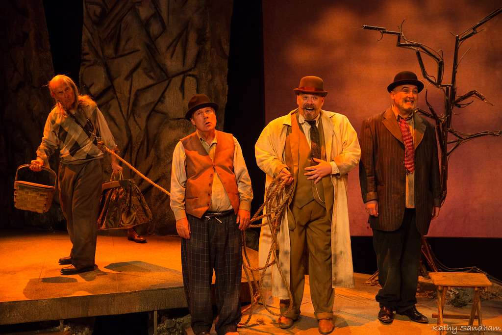 . George Allan Byrne, left, William Hoffman, Brian Pedaci, and Michael Mauldin perform in the Beck Center for the Arts production of �Waiting for Godot.� The show continues through Nov. 5 at Beck Center for the Arts in Lakewood. For more information, visit www.beckcenter.org/events/waiting-for-godot. (Kathy Sandham)