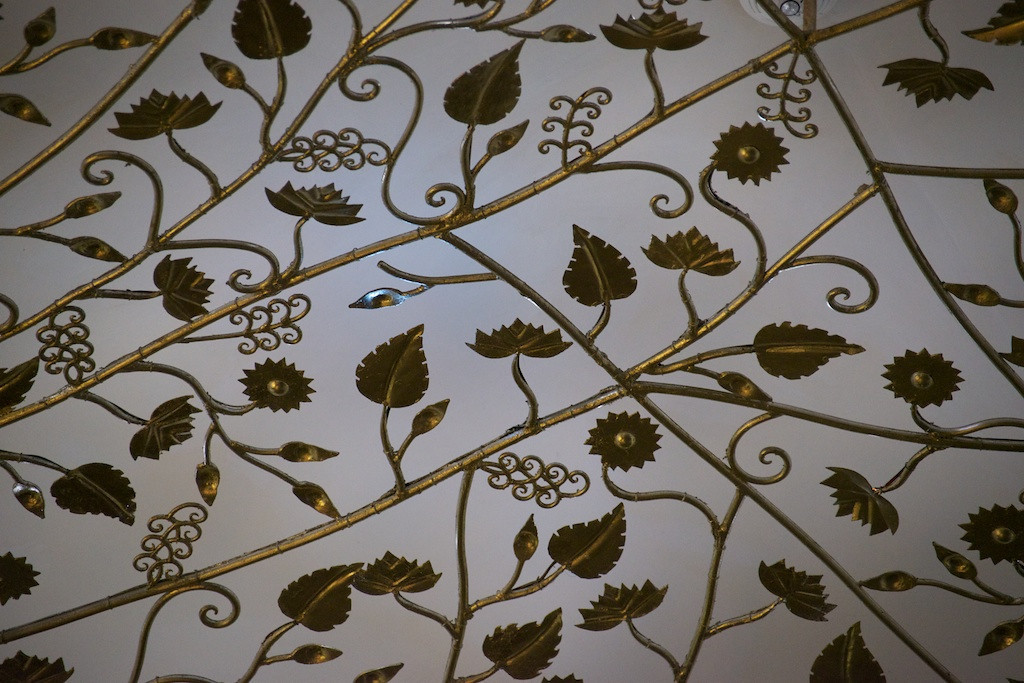 Detail of the intricate, solid silver sculpture on the ceiling of the lobby lounge at the Royal Mansour hotel.