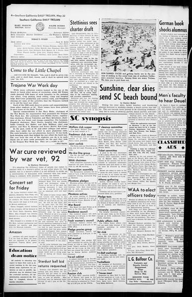 Daily Trojan, Vol. 36, No. 127, May 22, 1945