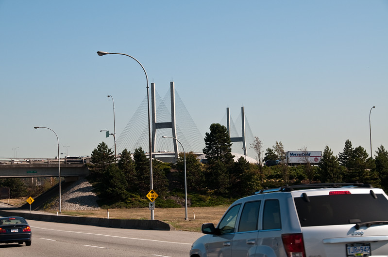 Approaching a rather new looking suspension bridge.