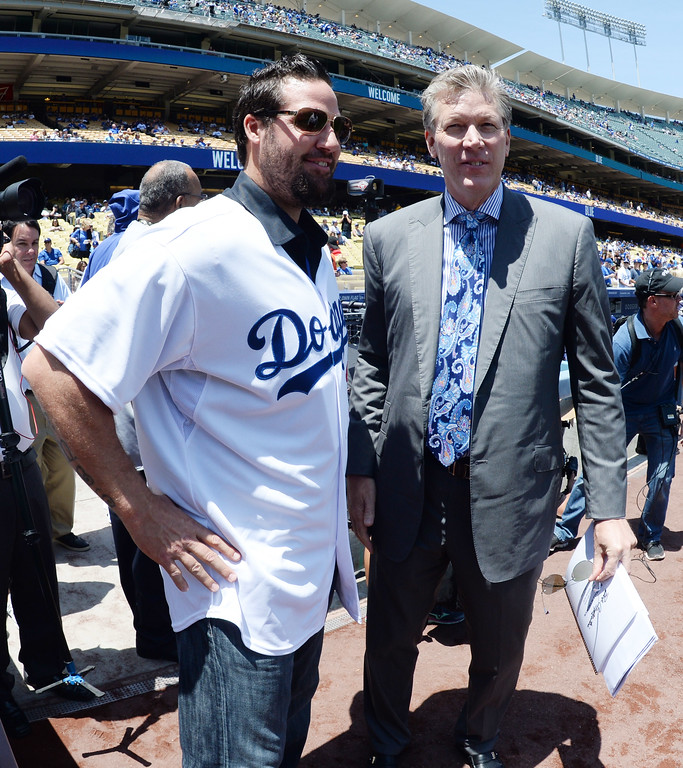 . Former Dodger greats Eric Gagne, left, with Orel Hershiser prior to a Major league baseball game against the San Francisco Giants on Saturday, May10, 2013 in Los Angeles.   (Keith Birmingham/Pasadena Star-News)