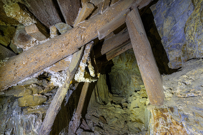 Timbering inside the mine