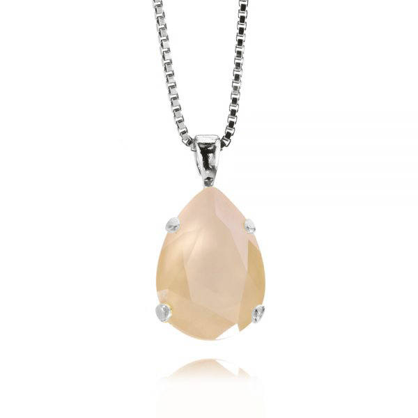 Mini Drop Necklace / Ivory Cream Rhodium