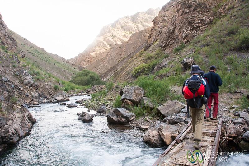 Bridge Crossing, Day Trek to Daroot Korson - Alay Mountains, Kyrgyzstan