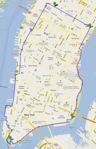 Route map of my walk around Manhattan on 9/11/11.
