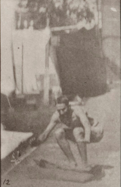 Man in pelvis cloth running and jumping