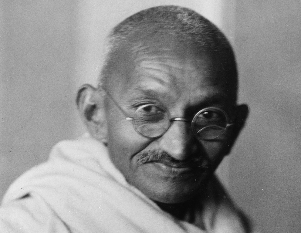 . Indian nationalist leader Mohandas Karamchand Gandhi (1869 - 1948), popularly known as Mahatma Gandhi, whose policy of peaceful demonstration led India from British rule to independence.   (Photo by Elliott & Fry/Getty Images)