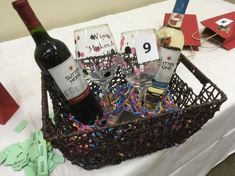 """Wine Makes a Good Book Great!""  basket donated by G Street Vinyl. Note the custom glasses."